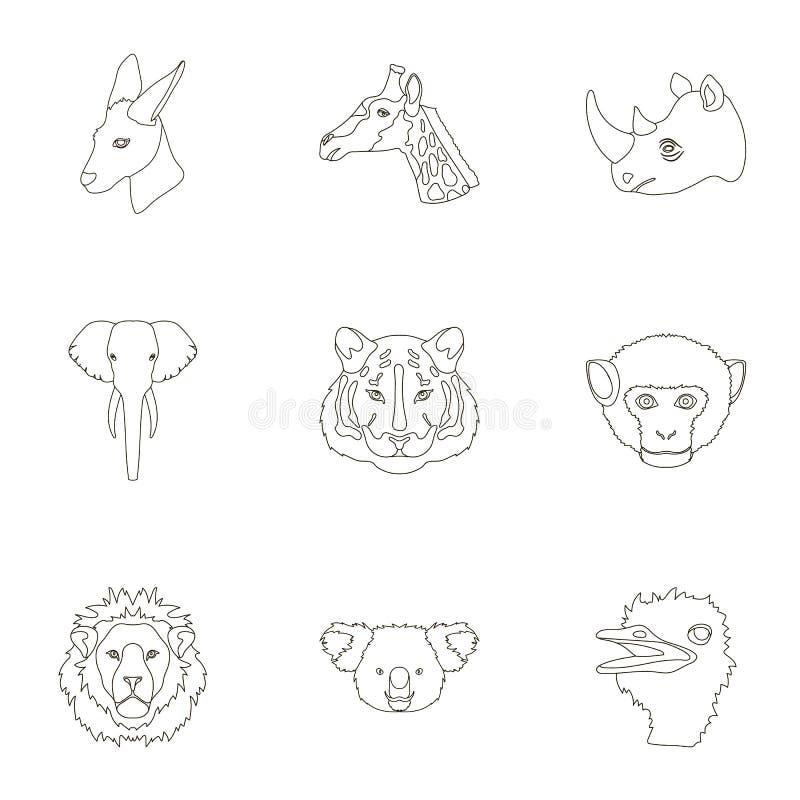 En uppsättning av symboler av vilda djur Rov- och fridsam vilda djur Realistisk djur symbol i uppsättningsamling på översikt royaltyfri illustrationer