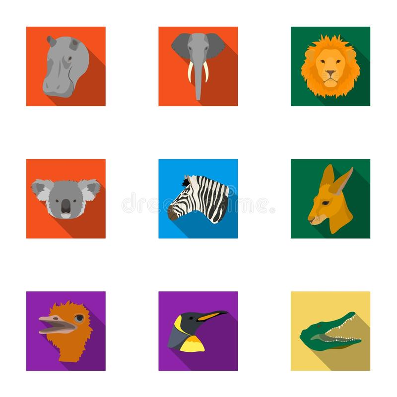 En uppsättning av symboler av vilda djur Rov- och fridsam vilda djur Realistisk djur symbol i uppsättningsamling på lägenhet royaltyfri illustrationer