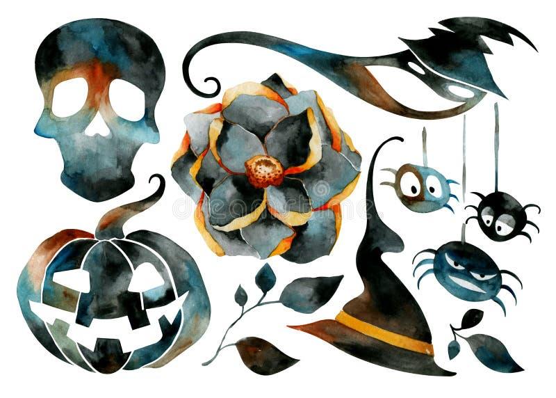 En uppsättning av symboler för en höstferie Läskiga pumpor och skallar, blommor och spindlar stock illustrationer