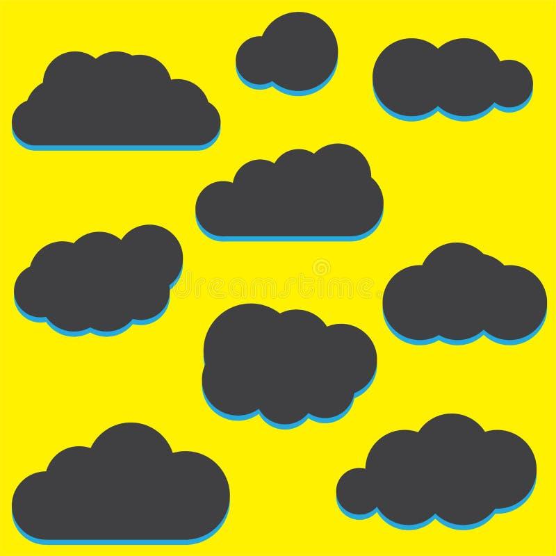 En uppsättning av symboler för svart moln i ett moderiktigt plant tema som isoleras från royaltyfri illustrationer