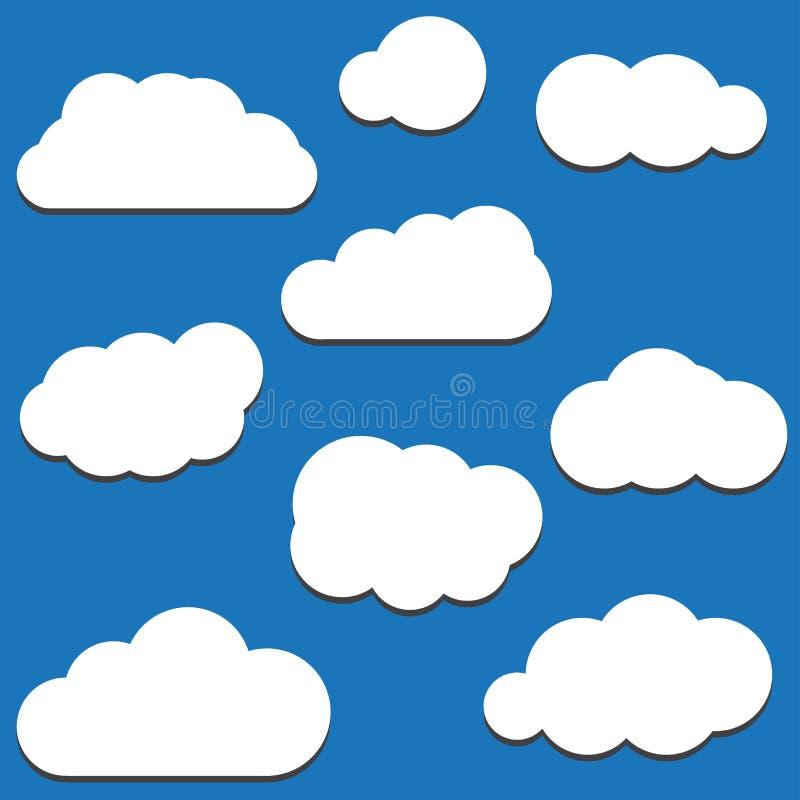 En uppsättning av symboler för svart moln i ett moderiktigt plant tema som isoleras från stock illustrationer
