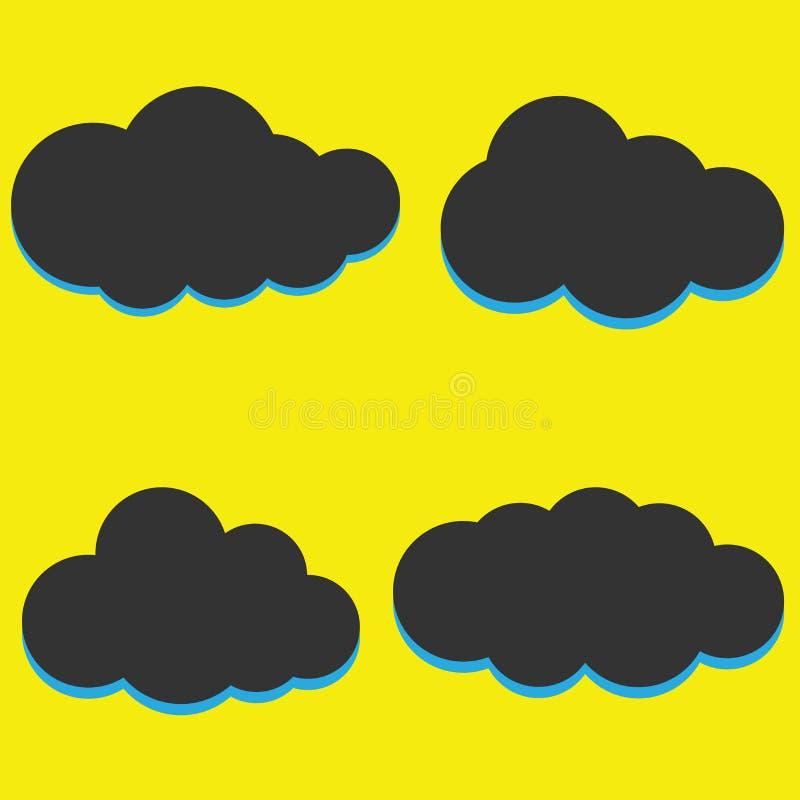En uppsättning av symboler för svart moln i ett moderiktigt plant tema som isoleras från vektor illustrationer