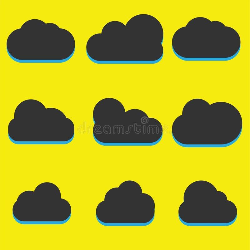 En uppsättning av symboler för svart moln i ett moderiktigt plant tema som isoleras från en gul bakgrund Molnsymboler för din web royaltyfri illustrationer