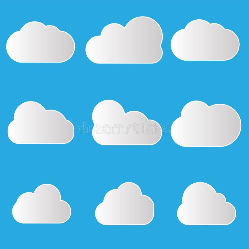 En uppsättning av symboler för svart moln i ett moderiktigt plant tema som isoleras från en gul bakgrund Molnsymboler för din web vektor illustrationer