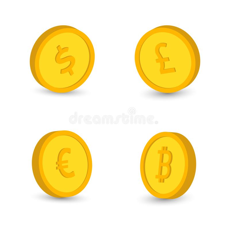 En uppsättning av symboler av mynt på den isolerade vita bakgrunden Sedlar dollar, sedlar euro, pund vektor illustrationer