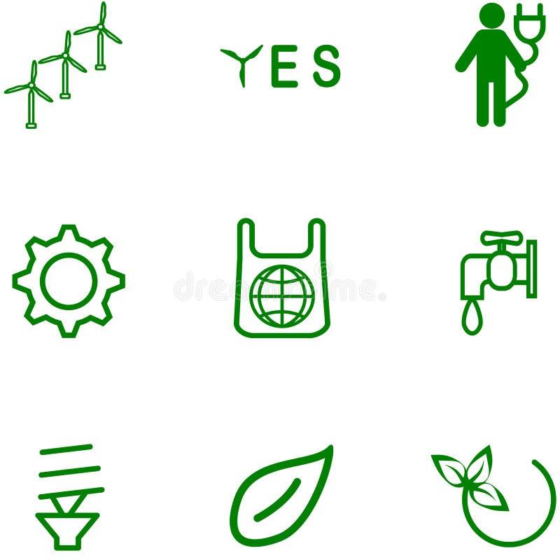 En uppsättning av symboler på ett ämne av ekologi stock illustrationer