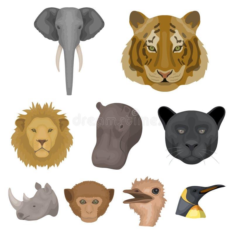 En uppsättning av symboler av vilda djur Rov- och fridsam vilda djur Realistisk djur symbol i uppsättningsamling på tecknad film royaltyfri illustrationer