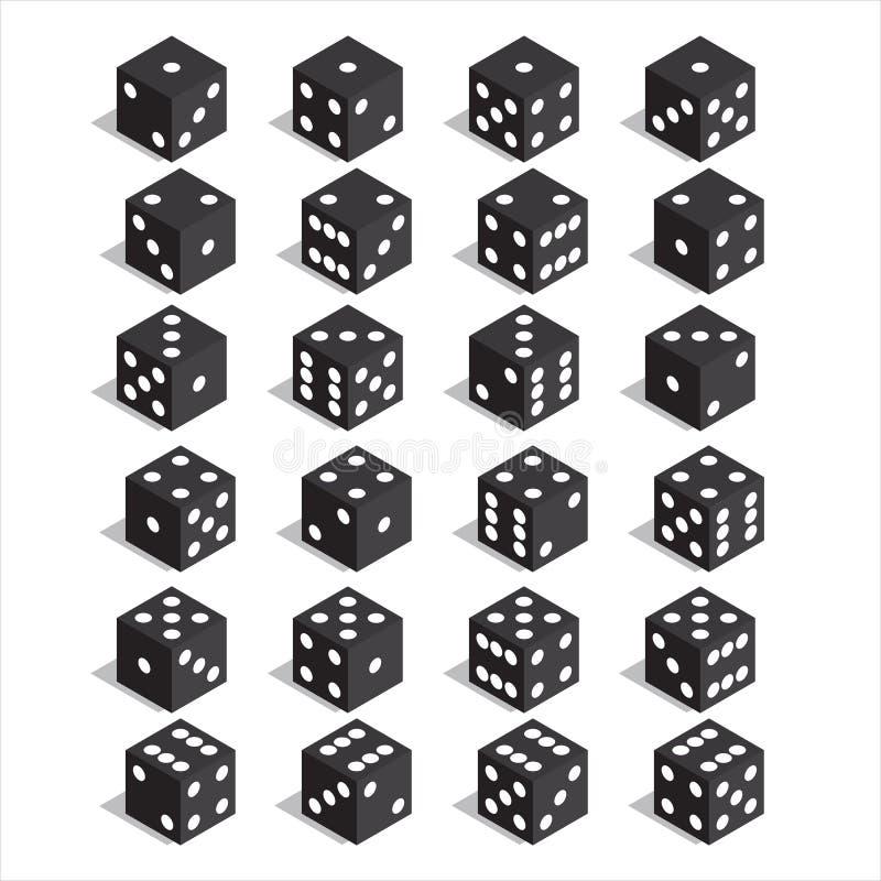 En uppsättning av tärning Isometrisk tärning Tjugofyra variantförlusttärning royaltyfri illustrationer