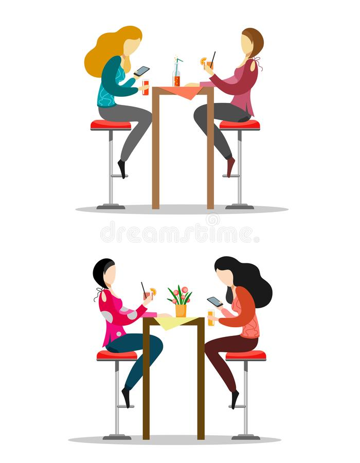 En uppsättning av tecken som sitter på stångstolar på tabellen, drinkdrinkarna och pratstunden flickor Vektorillustration på en v vektor illustrationer
