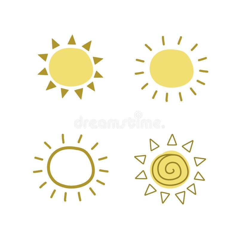 En uppsättning av teckningar av gula solar Vektorillustration vid handen V?dersymbol stock illustrationer