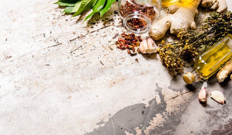 En uppsättning av torkade kryddor och örter med olivolja fotografering för bildbyråer