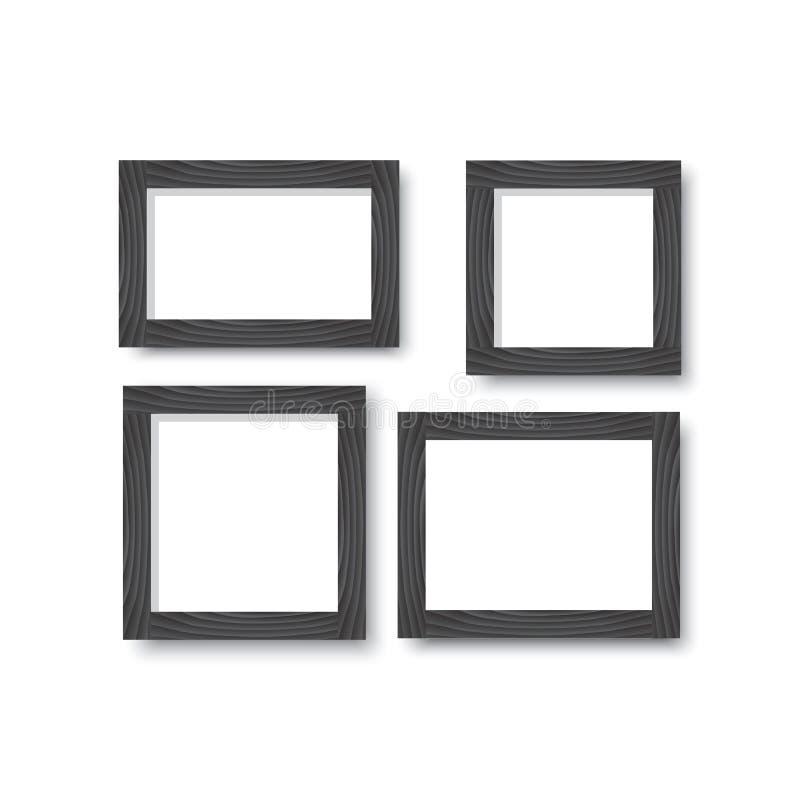 En uppsättning av träsvartramar för foto eller bilder på väggen med en skugga stock illustrationer
