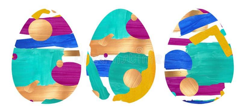 En uppsättning av tre gjorda ägg genom att använda en collage royaltyfri illustrationer
