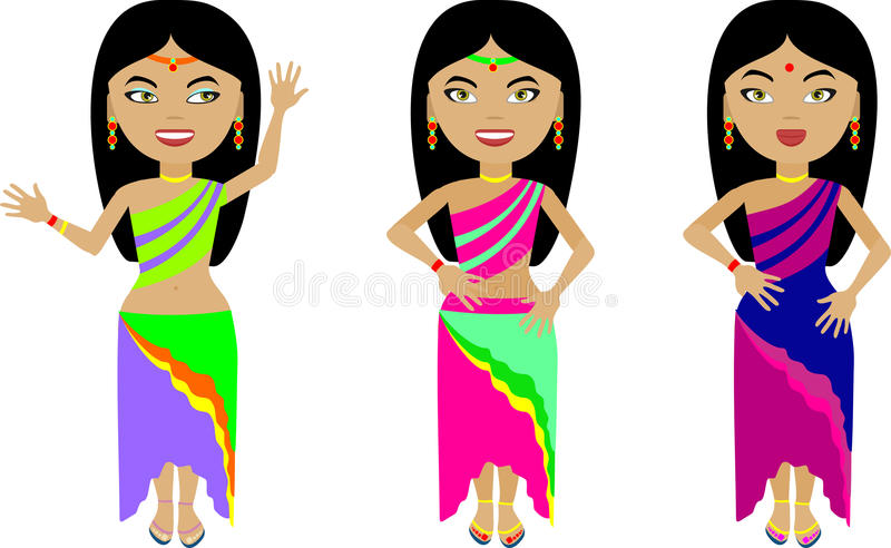 En uppsättning av tre indiska flickor i färgrik kläder stock illustrationer