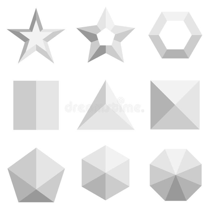 En uppsättning av tredimensionella geometriska former i grå färger Bästa sikt på geometriska former vektor illustrationer