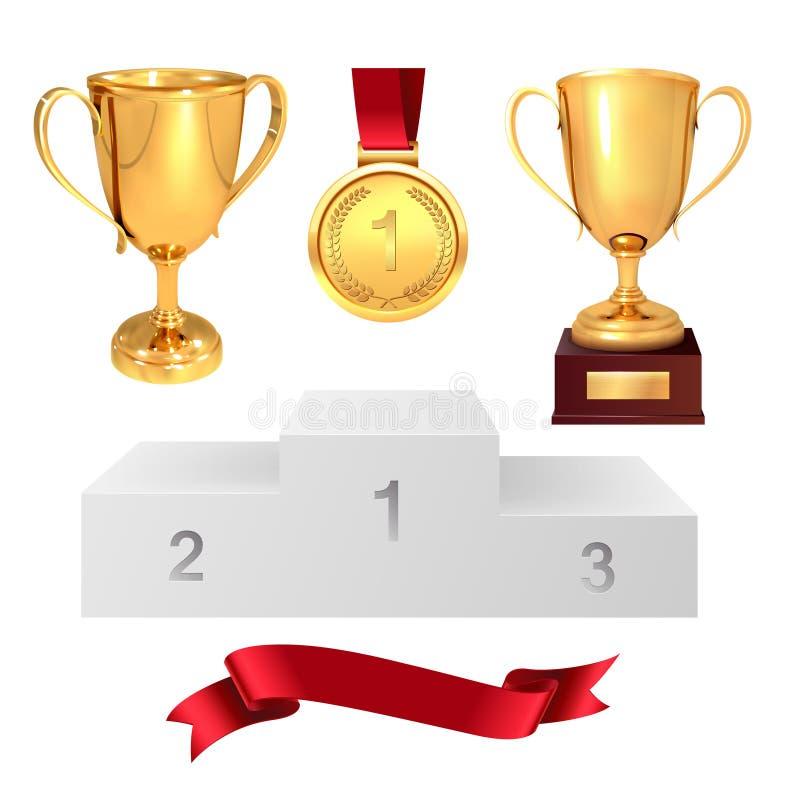 En uppsättning av troféer av vinnaren Guld- koppar, guldmedalj, röd band och pjadestal bakgrund isolerad white vektor vektor illustrationer