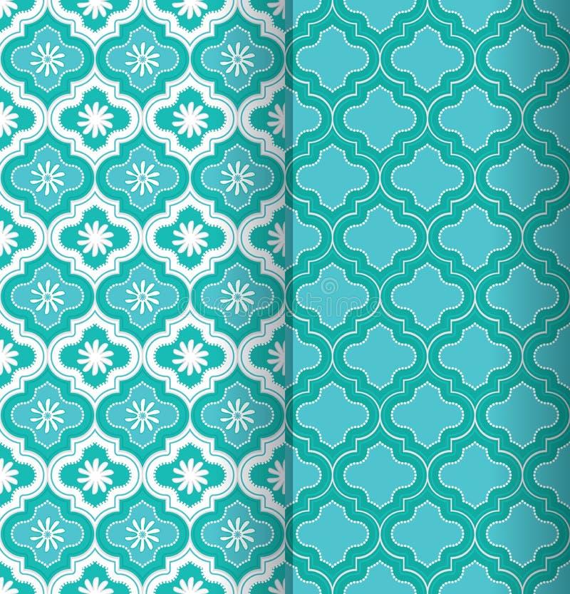 En uppsättning av två färgrika gröna sömlösa marockanska modelltegelplattor med dekorativ och blom- design stock illustrationer