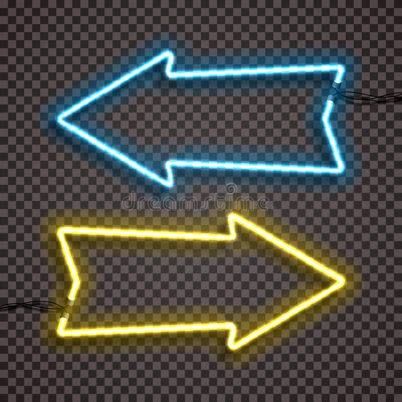 En uppsättning av två färgvarianter av neonlampor med trådar, formad pilpekare Blå och gul version royaltyfri illustrationer