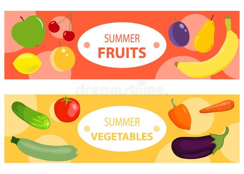 En uppsättning av två horisontalfrukt- och grönsakbaner Två horisontalbaner med frukter och grönsaker stock illustrationer