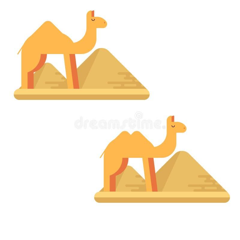 En uppsättning av två kamel på bakgrunden av pyramider av giza stock illustrationer