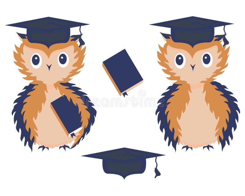 En uppsättning av två lärda ugglor, ett fyrkantigt akademiskt lock och en lärobok med en bokmärke Utbildning tillbaka skola till  vektor illustrationer