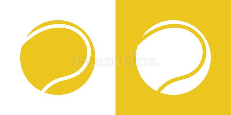 En uppsättning av två variationer av enkla symboler för tennisboll På vit och på en gul bakgrund stock illustrationer