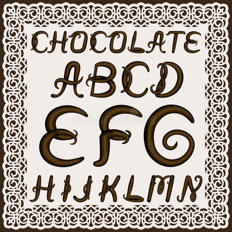 En uppsättning av uppercase latinska bokstäver som göras av chokladpralin Stilsorten isoleras av en bakgrund i en spets- ram Boks royaltyfri illustrationer