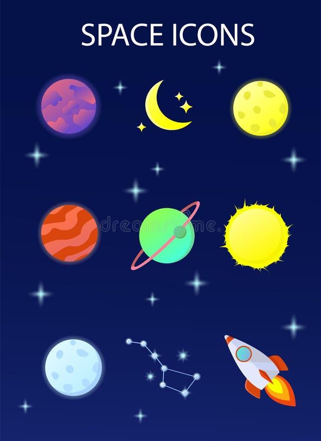 En uppsättning av utrymmesymboler stock illustrationer