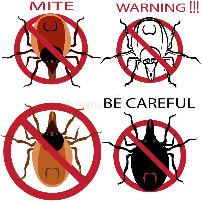 En uppsättning av varningstecknet Spindelkvalsterar Röd kvalster Kvalsterallergi epidemi Kvalsterparasitillustration vektor illustrationer