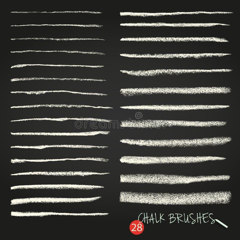 En uppsättning av vektorborsteslaglängder Krita och kol måla fläckar Grunge textur En hög upplösning stock illustrationer