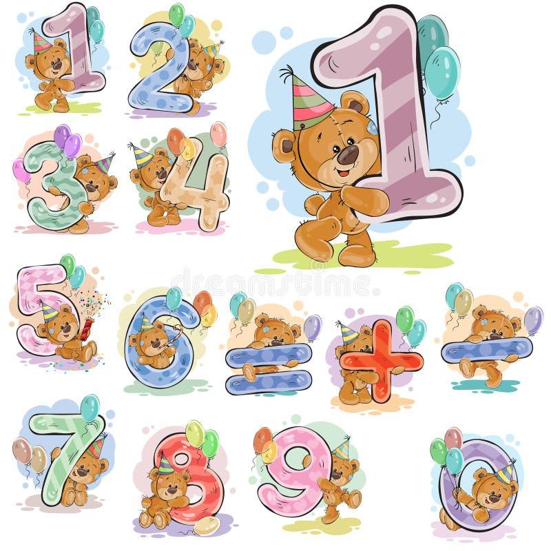 En uppsättning av vektorillustrationer med en brun nallebjörn och tal och matematiska symboler stock illustrationer