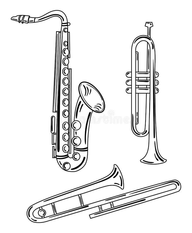 En uppsättning av vindmusikinstrument Samling av musikaliska rör Mässingsmusikinstrument Svartvit vektor stock illustrationer