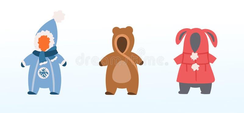 En uppsättning av vinterouterwear för ungar, pojkar och flickor stock illustrationer