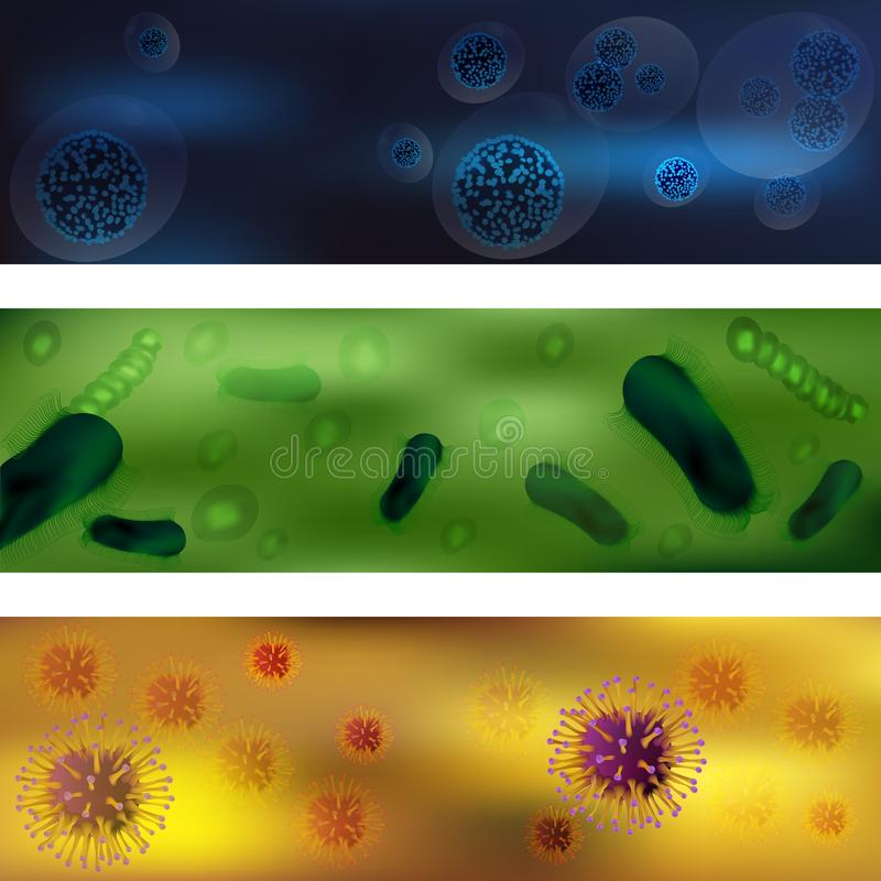 En uppsättning av virus och bakterier Virus och bakterier under mikroskopet Ett oinvigt cell- smittsamt medel det royaltyfri illustrationer