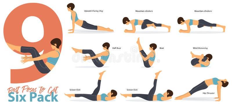 En uppsättning av yogaställingar som kvinnliga diagram för Infographic 9 yoga poserar för, får sex packe i plan design vektor vektor illustrationer