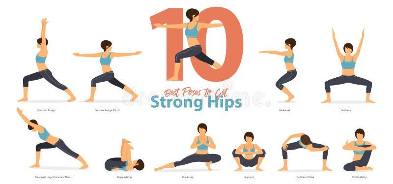 En uppsättning av yogaställingar som kvinnliga diagram för Infographic 10 yoga poserar för, får starka höfter i plan design stock illustrationer