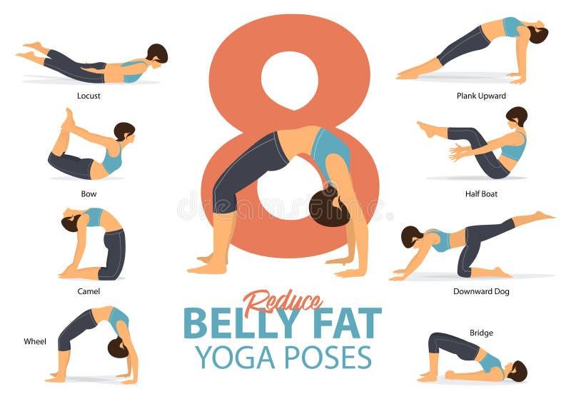 En uppsättning av yogaställingar som kvinnliga diagram för Infographic 8 yoga poserar för, förminskar bukfett i plan design Kvinn royaltyfri illustrationer