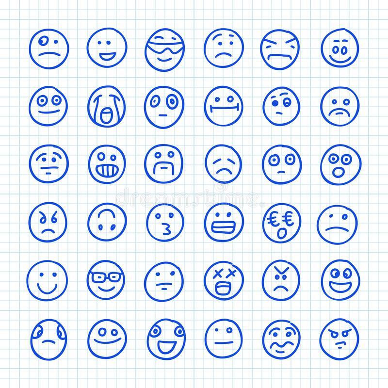 En uppsättning Emoji-ikoner som ritas av Hand på papper i fyrkant: Del 02 Illustration av vektordörr royaltyfri illustrationer