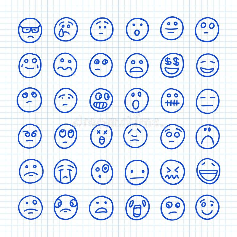 En uppsättning Emoji-ikoner som ritas av Hand på papper i fyrkant: Del 03 Illustration av vektordörr stock illustrationer