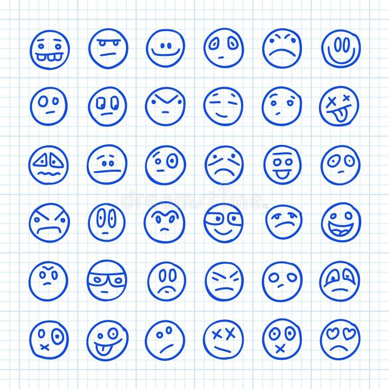 En uppsättning Emoji-ikoner som ritas av Hand på papper i fyrkant: Del 06 Illustration av vektordörr stock illustrationer