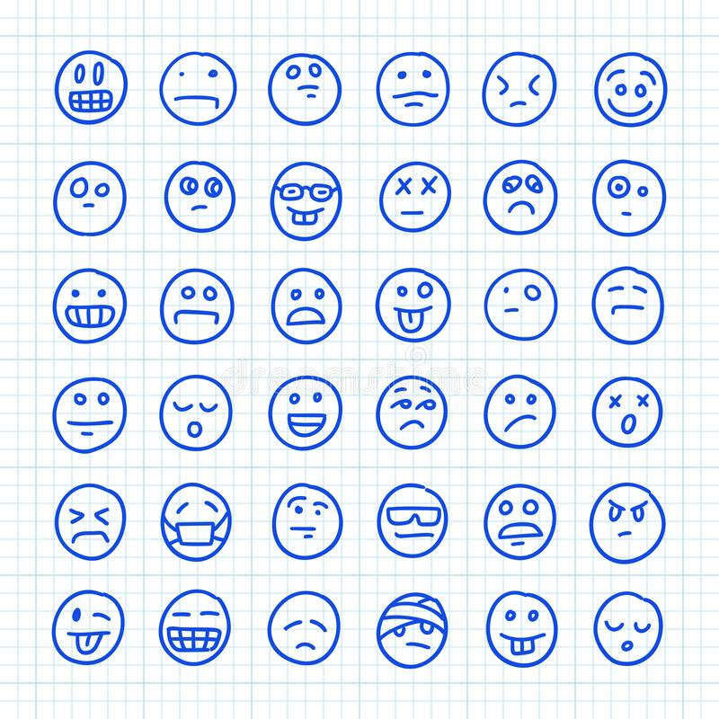En uppsättning Emoji-ikoner som ritas av Hand på papper i fyrkant: Del 01 Illustration av vektordörr vektor illustrationer