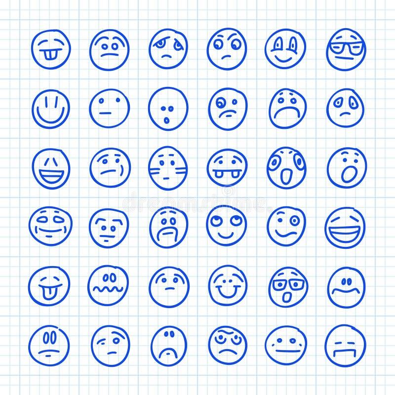 En uppsättning Emoji-ikoner som ritas av Hand på papper i fyrkant: Del 04 Illustration av vektordörr royaltyfri illustrationer