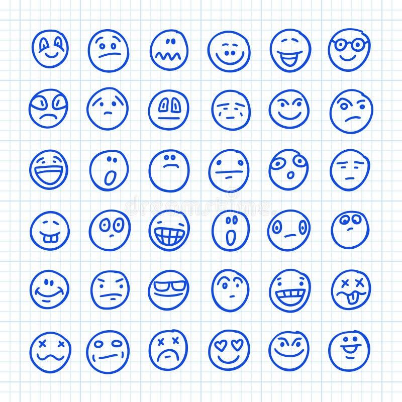 En uppsättning Emoji-ikoner som ritas av Hand på papper i fyrkant: Del 05 Illustration av vektordörr vektor illustrationer