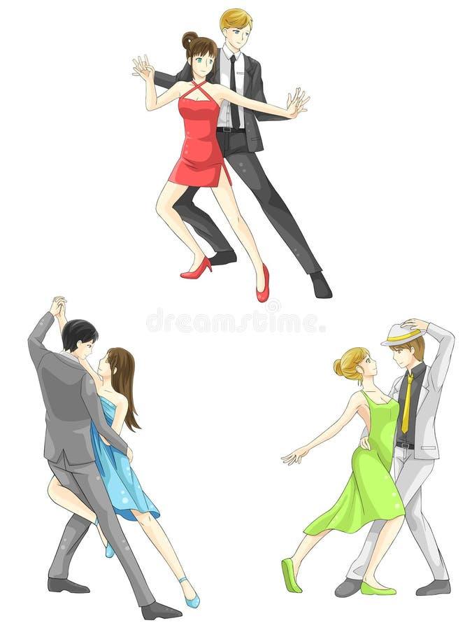 En uppsättning för symbol för illustrationtecknad filmtecken av dansparsp royaltyfri illustrationer