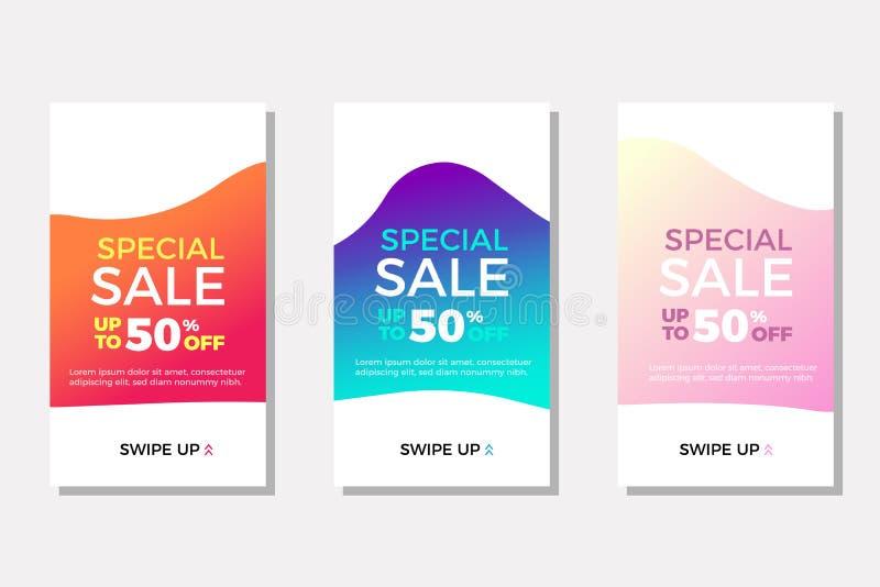 En uppsättning försäljningsbanderoller med flytande geometriska former som är perfekta för instagramartiklar och andra annonser T royaltyfri illustrationer
