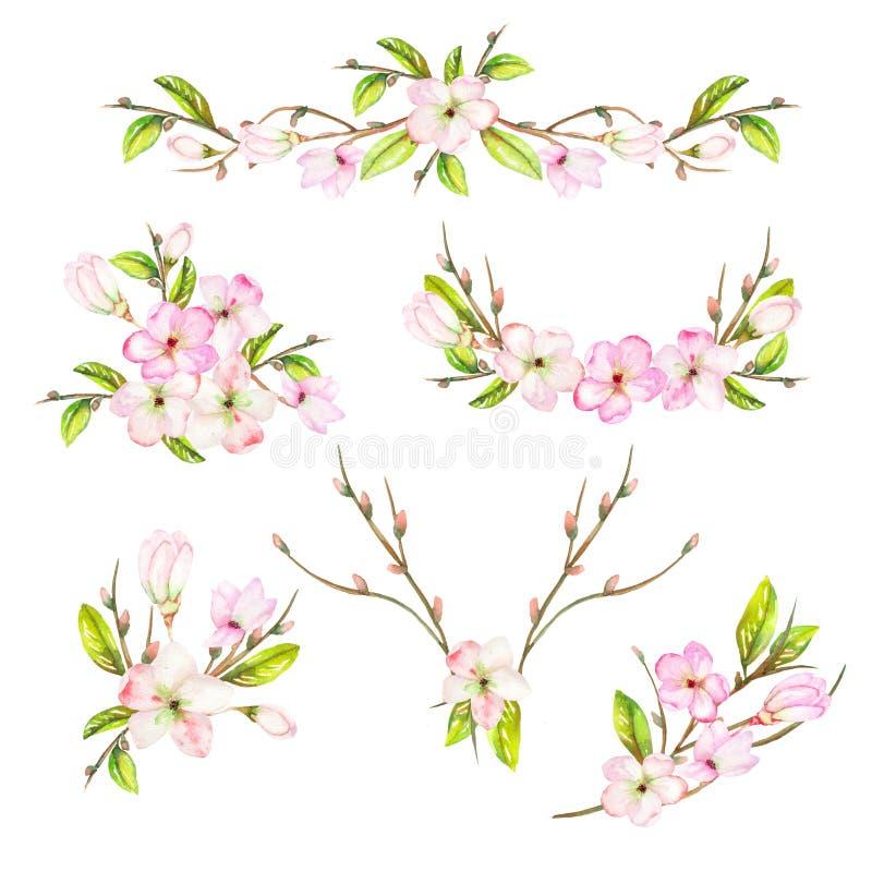 En uppsättning med ramen gränsar, blom- dekorativa prydnader med vattenfärgen som blommar blommor, sidor och filialer med knoppar stock illustrationer