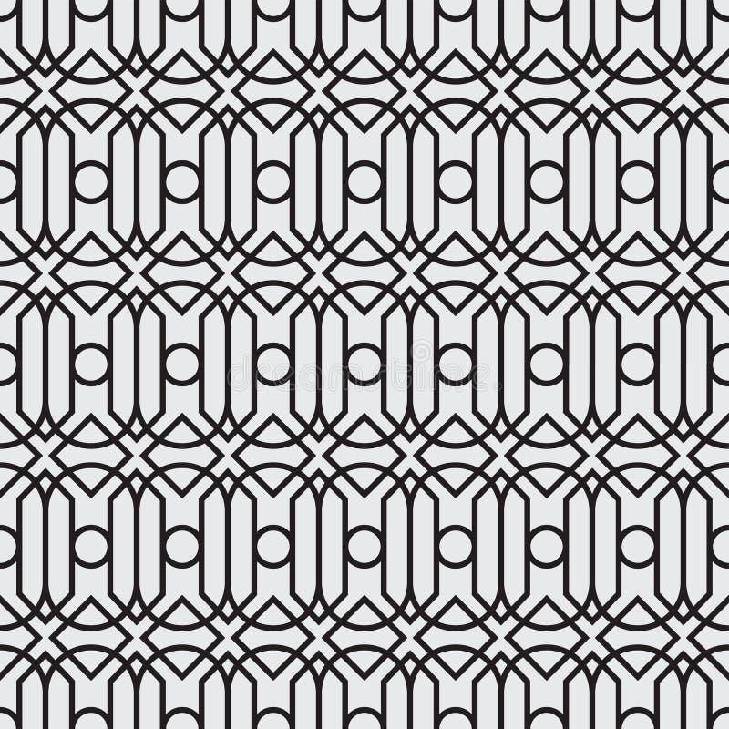 En uppsättning som är geometrisk av svartvitt sömlöst Stil för sömlös modell för vektorformat ny stock illustrationer