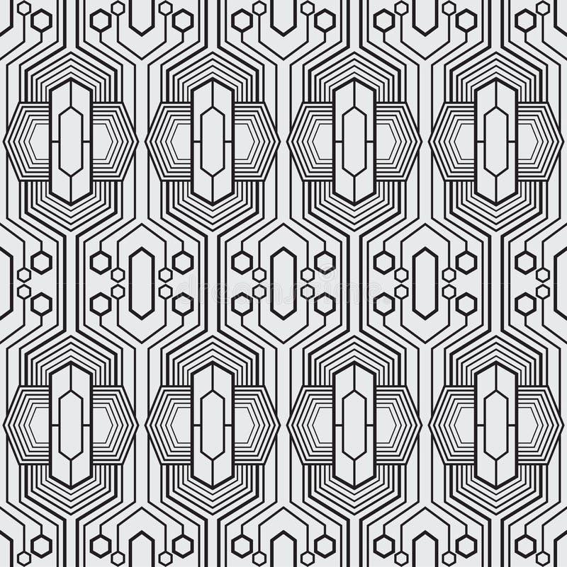 En uppsättning som är geometrisk av svartvitt sömlöst Stil för sömlös modell för vektorformat ny vektor illustrationer