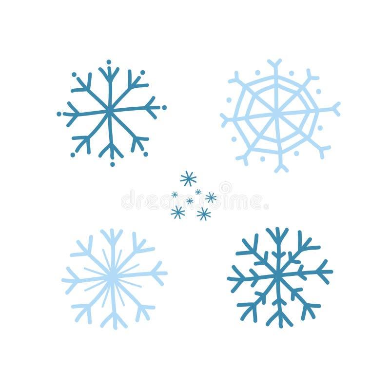 En upps?ttning av bl?a sn?flingor Dra i ett klotter Vektorillustration vid handen royaltyfri illustrationer