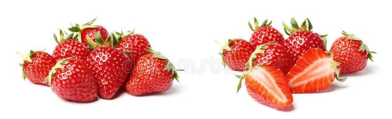 En upps?ttning av den nya jordgubben som isoleras p? vit bakgrund arkivfoto